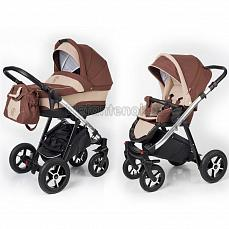 Esspero Newborn Lux 2 в 1 Brown Beige (Шасси chrome)