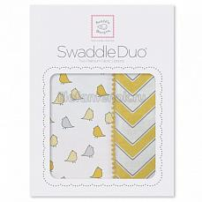 SwaddleDesigns Набор пеленок Swaddle Duo Y Chickies/Chevron