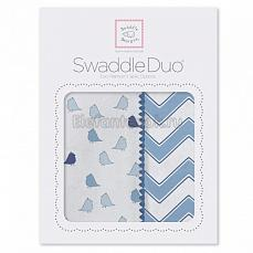 SwaddleDesigns Набор пеленок Swaddle Duo BL Chickies/Chevron