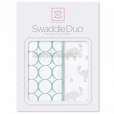 SwaddleDesigns Набор пеленок Swaddle Duo SC Elephant & Chickies Mod Duo