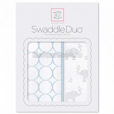 SwaddleDesigns Набор пеленок Swaddle Duo PB Elephant & Chickies Mod Duo