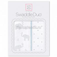 SwaddleDesigns Набор пеленок Swaddle Duo PB Elephant/Chickies