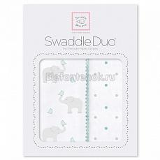 SwaddleDesigns Набор пеленок Swaddle Duo SC Elephant/Chickies