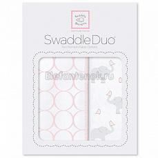 SwaddleDesigns Набор пеленок Swaddle Duo PP Elephant & Chickies Mod Duo