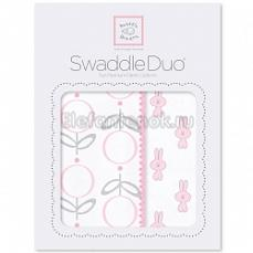 SwaddleDesigns Набор пеленок Swaddle Duo Pink Little Bunnie