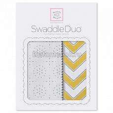 SwaddleDesigns Набор пеленок Swaddle Duo Yellow Chevrons