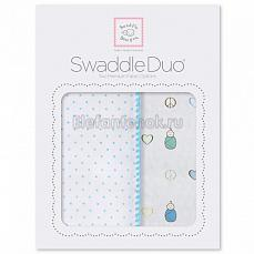 SwaddleDesigns Набор пеленок Swaddle Duo BL Peace/LV/SW